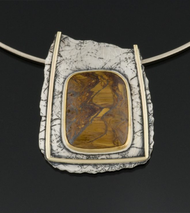 """Repose"" Pendant in sterling silver, 14K and 22K gold set with Tiger Iron by Jewel Clark"