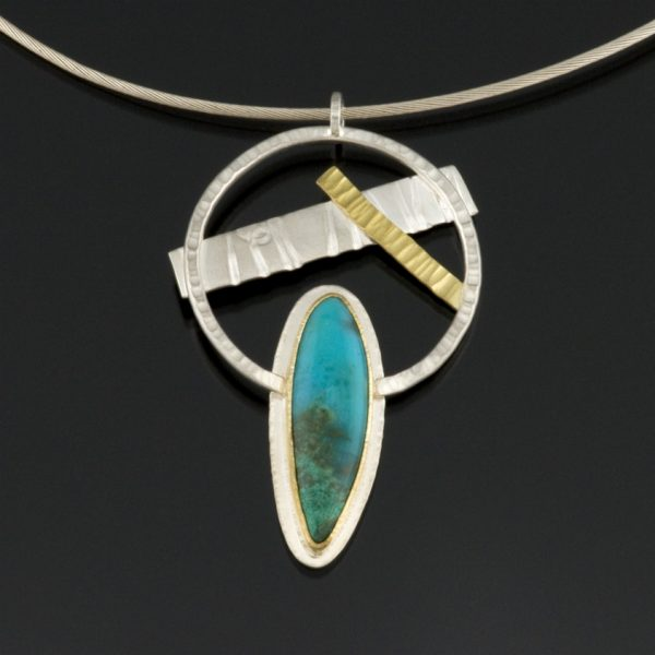 Reclamation Series: Sterling silver, 14K and 22K gold pendant set with Chrysacolla in Quartz