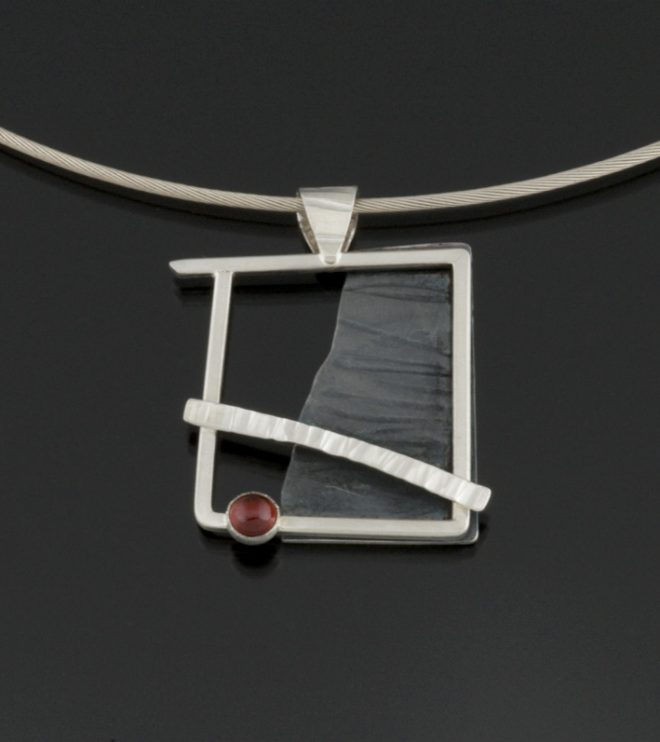 Reclamation Series: Sterling silver and Garnet pendant