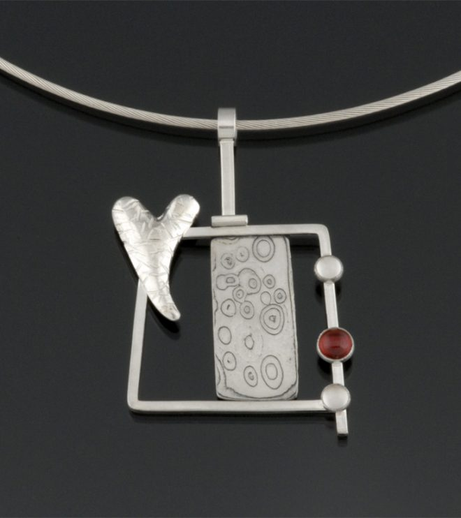 Reclamation Series: Sterling silver and mokume gane pendant set with moonstone and carnelian